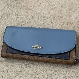 Authentic Coach leather/Coated canvas Flap wallet